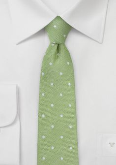 Apple green skinny necktie with white dots - Greenery : Menswear of the Month