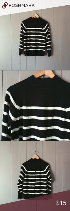 "Black & White Striped Mock Neck Sweater Super cute and preppy sweater in excellent condition! Zips up the top of back neck.   Armpit to armpit is 18.5"" Length is 24""  ⛳️ Offers are welcome Knit by Hampshire Studio Sweaters"