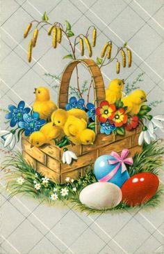 Vintage Cards, Vintage Postcards, Happy Easter Wallpaper, Catholic Pictures, Easter Illustration, Unusual Flowers, Spring Home Decor, Vintage Easter, Dear Santa