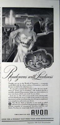 1940 Avon Cosmetics RENDEVOUS WITH LOVLINESS print ad