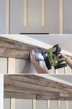 How to build a pallet accent wall in an afternoon. Includes tips on safe pallets… How to build a pallet accent wall in an afternoon. Includes tips on safe pallets to use, and building wire pathways for mounting a TV. Pallet Accent Wall, Pallet Walls, Pallet Furniture, Pallet Wall Bathroom, Furniture Plans, Kids Furniture, Pallet Couch, Bedroom Furniture, Pallet Shelves