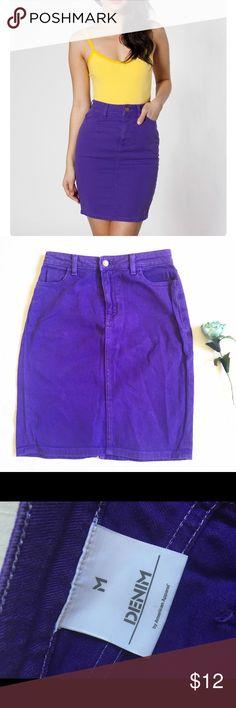"American apparel purple denim pencil skirt American apparel purple denim pencil skirt Waist 14"" Hips 18"" Length 20.5"" Little worn  Noticeably worn where denim was folded American Apparel Skirts Pencil"