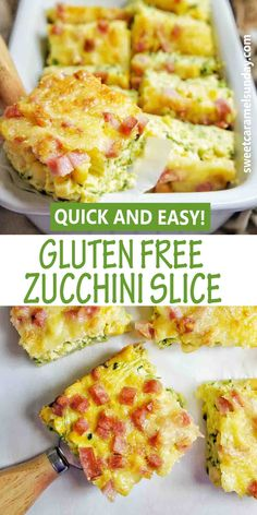 Gluten Free Flourless Zucchini Slice is an easy recipe for breakfast, lunch or dinner! #zucchinibaconslice #easy #eggs #glutenfreerecipe #flourlesszucchinislice #flourlesseggrecipe @sweetcaramelsunday Egg Recipes, Light Recipes, Gluten Free Recipes, Dessert Recipes, Dinner Recipes, Healthy Recipes, Gluten Free Zucchini Slice, Raw Vegetables, Most Popular Recipes