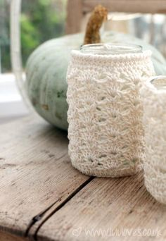 free pattern: crochet-jar cosy.  Just thought it was cute.  Thought of Gloria.  Put a tea light in the jar and set a mood.  Pattern is free and you can make it for wine bottles (great gift idea), and any size jar.
