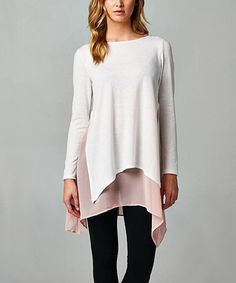 Another great find on #zulily! Blush Chiffon Underlayer Sidetail Tunic #zulilyfinds