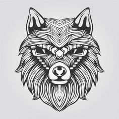 Line Of Abstract Wolf In Black And White With Decorative Face