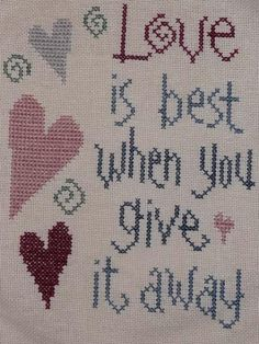 Love is best (mondo_viola) tags: love hearts crossstitch quote best cuori amore lizziekate Minnie Baby, Cross Stitch Heart, Madonna And Child, World Best Photos, Love Heart, Needlework, Free Pattern, Love Quotes, Kids Rugs