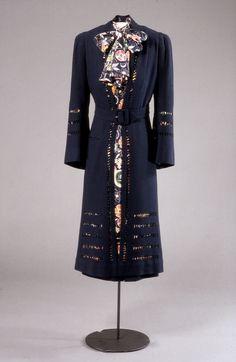 Ensemble, Blancquaert: ca. 1937, British, wool coat, silk dress with printed pattern.