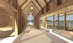 interior render of a timber portal frame pavilion