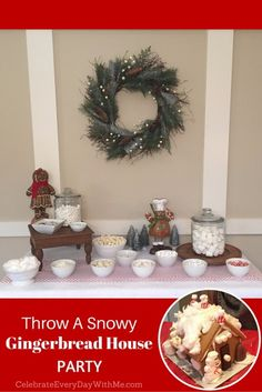 cute gingerbread house party - most of the candy is white - fun idea for winter parties