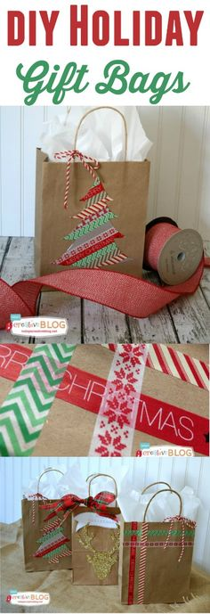 33f3585c7 Super cute holiday gift bags from Today's Creative Blog for Bake Craft Sew!  Bolsas De