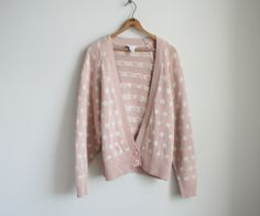 Christian Dior Silk Cardigan - Pastel Pink with White Polka Dots - Raglan Sleeve / Batwing Sleeve - Rose Smoke. NBDG on Etsy.
