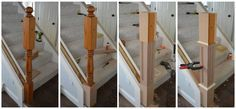 Converting a colonial style newel post into a craftsman style.
