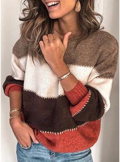 Fashion Autumn And Winter Women Sweater New Round Neck Color Long Sleeve Sweater Casual Loose Sweater Pull Femme Nouveaute 2019 Cardigan Long, Long Sleeve Sweater, Long Sleeve Tops, Loose Sweater, Velvet Cardigan, Plus Size Sweaters, Casual Sweaters, Sweaters For Women, Striped Sweaters
