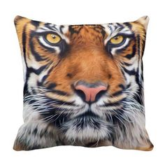 Male Siberian Tiger Pillows. The Siberian Tiger close-up photograph art done in painting with vibrant brown orange and beautiful yellow brown eyes. See them all here: http://www.zazzle.com/ironydesignphotos/pillows?rf=238222968750191371&tc=pinterest