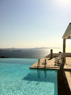 Mykonos#pool#sunset Mykonos, Pools, Sunset, Outdoor Decor, Sunsets, Swimming Pools, The Sunset, Ponds, Water Feature
