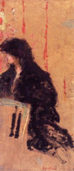 Edouard Vuillard Somber Dress hand painted oil painting reproduction on canvas by artist Maurice Denis, Pierre Bonnard, Edouard Vuillard, Felix Vallotton, Avant Garde Artists, Impressionist Artists, Portraits, Tumblr, Post Impressionism