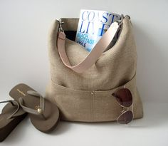 Beach Bag, Bucket Tote, Hobo Tote, Linen Tote Bag, Natural, Jute Woven Tote, Resort Tote, Summer Tote Bag, Women on Etsy, $138.00