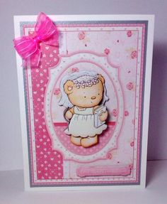FIRST HOLY COMMUNION GIRL BEAR Card Topper made by Lynda Tully. Download designed by Janet Briggs