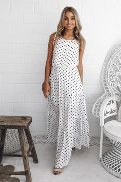 nadia dress - white spot - ESTHER & CO.