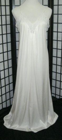 Vintage Barbizon Nightgown Long Lg White Nylon, Lace & Faux Pearl #Barbizon…