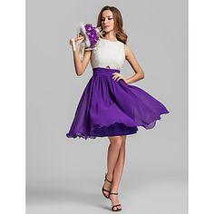 Love love love this dress A-line Jewel Knee-length Georgette Bridesmaid Dress (808914)  – AUD $ 118.05