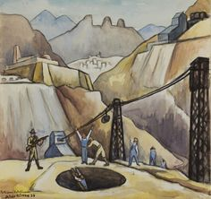 Diego Rivera (Mexican, 1886-1957), Gold miners being searched as they leave, 1938. Charcoal and watercolor on paper, 27.7 x 28.3 cm.