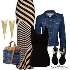 """denim and striped maxi"" by shauna-rogers on Polyvore"