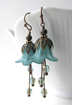 Teal Flower Earrings, Aqua Seafoam Green Glass, Antiqued Brass - Garden Wedding, Bridesmaids, Gift for Gardener, Vintage Style Jewelry. $32.00, via Etsy.