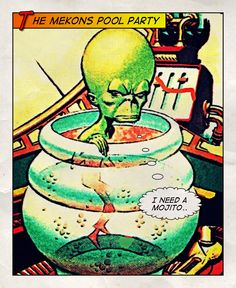 The Mekon has a pool party