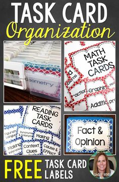 Task Card Organization is made easy and fun with this FREE quick tips video and FREE printable Task Card Labels! Find several nifty ways to display your cards and and keep that task card storage under control!