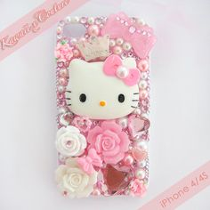 Princess Hello Kitty Decoden iPhone 4/4S Case | $50.00    SHOP: www.etsy.com/shop/kawaiixcoutureHandmade decoden phone cases, jewelry, & accessories ♡