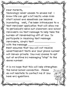 An informational parent letter to create a new avenue for parent-teacher communication using the app 'Remind 101'. Use this app and letter idea for other organizations like sports, scouts, or room parent.