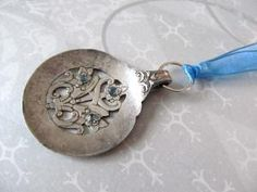 Silverware Spoon Pendant Necklace Blue Crystals Recycled Vintage | wingsofflutter - Jewelry on ArtFire
