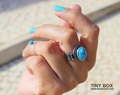 Turquoise  Statement Ring  Stone  Ring  Turquoise by TinyBox12, $14.95