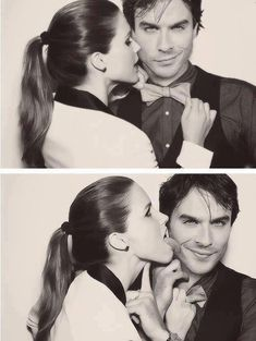 At a photoshoot. They're so cute! Nian. Nina Dobrev & Ian Somerhalder ♥