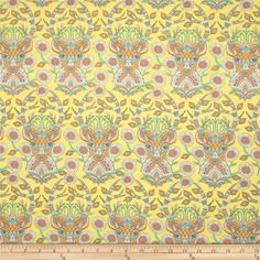 Tula Pink Moon Shine Deer Me Dandelion from @fabricdotcom  Designed by Tula Pink for Free Spirit, this cotton print is perfect for quilting, apparel and home decor accents.  Colors include white, yellow, orange, pink, aqua and shades of grey.