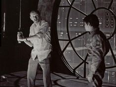 Ivan Kershner and Mark Hamill on the set of Star Wars: The Empire Strikes Back (1980)