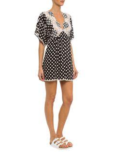 Vestido Poá Bordado Decote Costas - Farm - Preto   - Shop2gether