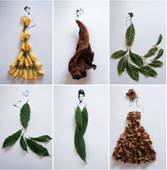 Tang Chiew Ling-Fashion in leaves Flower Collage, Collage Art, Collages, Leaf Crafts, Flower Crafts, Diy Crafts, Art For Kids, Crafts For Kids, Ganesha Painting