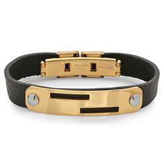 SteelTime The Genuine Leather Bracelet With Gold Plating in Black Bangles, Bracelets, 18k Gold, Belt, Gold Plating, Detail, Leather, Accessories, Black