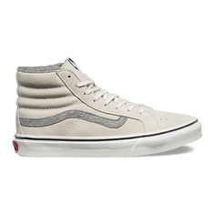 Vintage Suede SK8-Hi Slim (475 DKK) ❤ liked on Polyvore featuring shoes, sneakers, true white, suede high tops, white hi top sneakers, vans shoes, vintage shoes and vintage high top sneakers