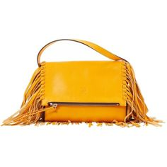Pre-owned Carolina Herrera Leather Mini Bag (1,085 PEN) ❤ liked on Polyvore featuring bags, handbags, women bags handbags, yellow, mini handbags, orange handbags, yellow purse, orange leather purse and leather hand bags
