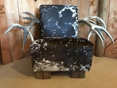 Red Stag antlers and salt & pepper cowhide from cowhidesusa.com. Beautiful piece of upholstered furniture! Cowhide Furniture, Upholstered Furniture, Stag Antlers, Pepper, Accent Chairs, Salt, Beautiful, Home Decor, Upholstered Chairs