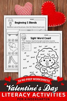These printable worksheets for kindergarten were a great addition in my classroom. The spring set includes kindergarten sight words, cvc word worksheets, alphabet activities, and more. The spring kindergarten printables are so fun and include so many cute graphics, just like a game. The Christmas printables activities can be used during homeschool, or in the classroom for kindergarten and first-grade students. You can easly add these in your homeschool schedule Literacy Worksheets, Kindergarten Literacy, Printable Worksheets, Christmas Printable Activities, Valentines Day Activities, Sight Word Practice, Sight Words, Alphabet Activities, Fun Activities