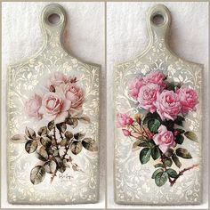 """Discover thousands of images about Cutting board with decoupage """"Roses """" Decoupage Vintage, Napkin Decoupage, Decoupage Box, Shabby Chic Crafts, Shabby Chic Decor, Crafts To Make, Arts And Crafts, Diy Crafts, Diy Cutting Board"""