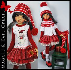 """** CHRISTMAS ** Outfit for Kaye Wiggs 18"""" MSD BJD by Maggie & Kate Create"""