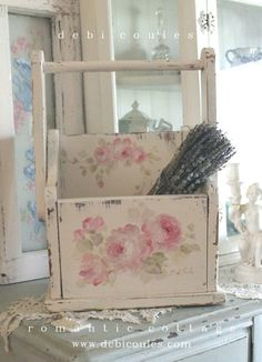 Lovely Vintage Roses Tote/Magazine holder available at www.debicoules.com