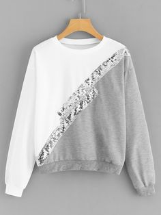Shop Cut And Sew Contrast Sequin Sweatshirt online. SHEIN offers Cut And Sew Contrast Sequin Sweatshirt & more to fit your fashionable needs. Sewing Clothes Women, Clothes For Women, Cut Sweatshirts, Hoodies, Long Cardigan, Sweat Shirt, Cardigans For Women, Fashion News, Dame