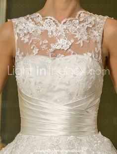Lanting Bride® Princesa Pequeno / Tamanhos Grandes Vestido de Noiva - Recepção Até o Tornozelo Decorado com Bijuteria Tule comCom de 2017 por R$304.17